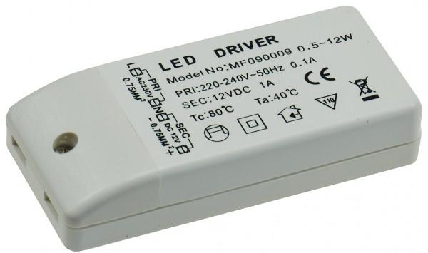 """LED-Trafo """"CT-12E-V2"""", 0,5-12W 230V~ auf 12V=, eckig"""
