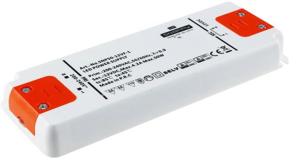 elektronischer LED-Trafo 0,5-50 Watt 220-240V, Aus 12V=, Super SlimLine