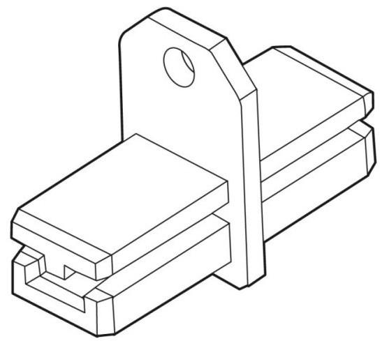Verbinder mit Öse für Alu-Plakatschiene 20x20mm